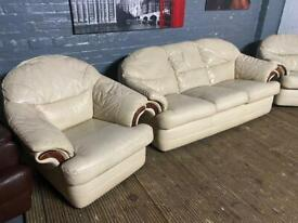Real leather 2 & 1 it's a 3 piece if need extra armchair free