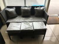 Brand New 2 Seater Rattan Effect Grey Sofa and 3 Rattan Effect Stools