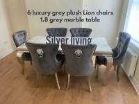 Brand new 1.8 grey marble table 6 grey plush Lion chairs £1099