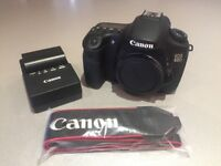 Canon EOS 60D camera body, battery, charger & strap