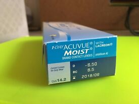 33 one day acuvue moist contact lenses D-6.5 BC8.5 DIA14.2 Paypal accept