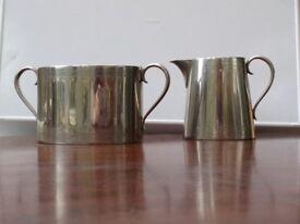 Hukin & Heath Hallmarked Silver Plate Victorian Cream Jug and Large Sugar Bowl