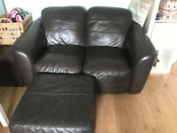Brown leather sofas with footstool