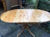 Extending solid pine drop leaf vintage dining table
