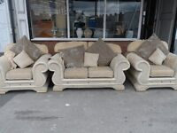 SOFA HALF LEATHER DFS THREE PIECE SUITE 2 SEATER & TWO SINGLE ARMCHAIRS DELIVER