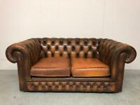 STUNNING THOMAS LLOYD CHESTERFIELD 2 SEATER CLUB SOFA - WHISKY TAN BROWN LEATHER