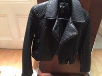 Top shop leather jacket - size 6/8 petite