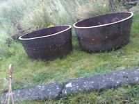 Recycled oak whisky barrel planters