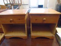 2 pine bedside cabinets.