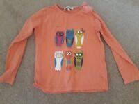 Orange owl long sleeve tshirt