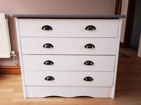Drawers white and grey with new handles 4 drawers