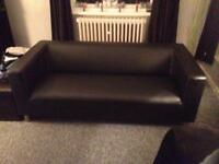 Leather cube 3 seater sofa