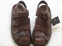 Mens, M&S brown leather closed toe sandal, size 9,unworn