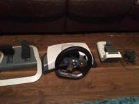 Xbox 360 wireless force feedback steering wheel and pedals