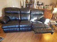 3 Seat Black Leather Sofa & Chair
