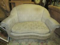 FREE unusual kidney shaped vintage settee and matching stool, silky ivory coloured