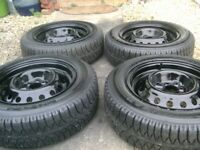 SET 4, AS NEW,4 STUD,MG TF STEEL WHEELS WITH 4 AS NEW 175/65/14 GOODYEAR GT TYRES,8MM,