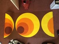retro style '70s wallpaper yellow orange and brown pattern imported from germany 2 rolls same batch