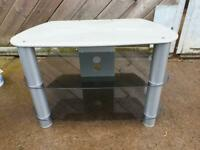 Silver and glass TV stand