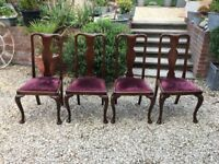 Antique Vintage wooden dining chairs x8