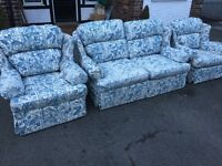 2 seater sofa bed and 2 armchairs