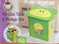 Kids Wooden Table & Storage Box