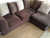Brown fabric corner sofa with scatter cushions,excellent condition