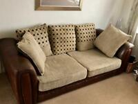 Part leather sofa and armchair