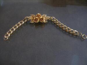 BRILLIANT OLD VINTAGE GOLDTONE ROSE-CLUSTER BRACELET