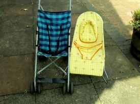 Baby buggy and bouncer chair £8.00