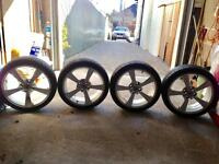 4 x used Wolfrace 'Katana' 17 inch alloy wheels rims AND great condition TYRES