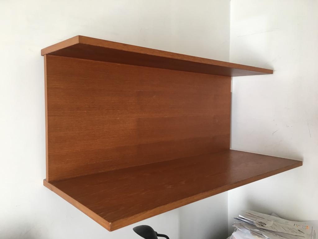 retro vintage teak veneer floating shelf unit offers to clear  - retro vintage teak veneer floating shelf unit offers to clear