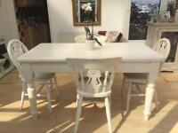 Large Pine Dining Table & Chairs. RUSTIC