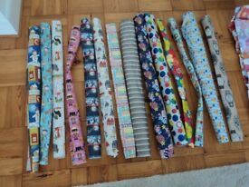 LARGE BATCH OF UNUSED WRAPPING PAPERS AND GIFT TAGS - NEW.