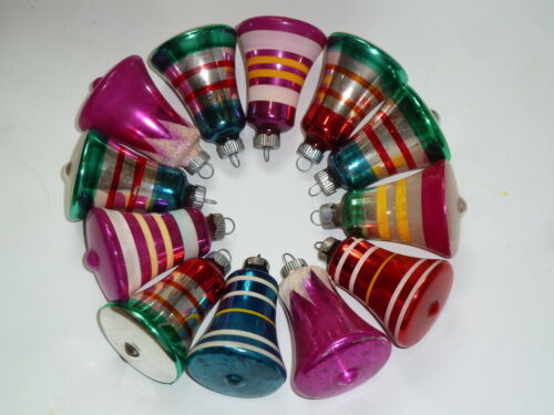 "12 VTG SHINY BRITE GLASS STRIPE BELL CHRISTMAS TREE ORNAMENTS 3"" INCHES TALL"