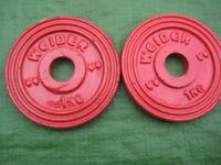 Two Round Weider Metal Normal (Not Olympic) One Kilogram Weight Plates for £5.00