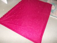 large length of unused red lace material