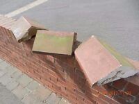 ORIGINAL RECLAIMED RED CLAY TERRACOTTA VICTORIAN ANGLED WALL TOPPERS