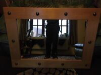 large solid pine Mirror. Mexican style, very heavy. 46in X 34in