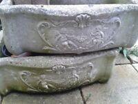 two vintage flower pots