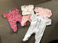 0-3 months baby girl sleepsuit bundle