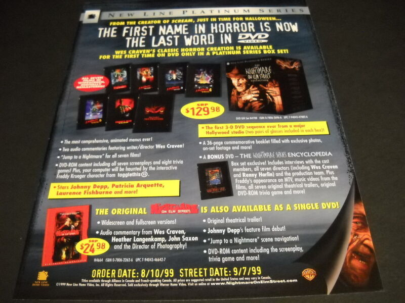 NIGHTMARE ON ELM STREET 1st Name In Horror-Last Word On DVD 1999 PROMO POSTER AD