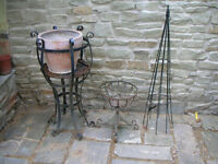 THREE WROUGHT IRON PLANTER STANDS
