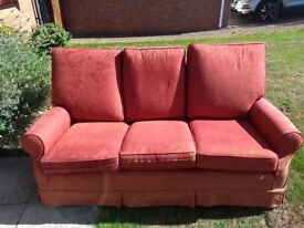 3 seat red sofa