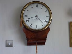 Antique Brass Silvered Early Fusee Drop Dial wall clock c 1810/15 in lovely condition