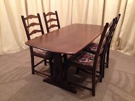 Ercol Table & 4 Chairs - Old Colonial Refectory Table & 4 Ladder Back Chairs - UK Delivery Available