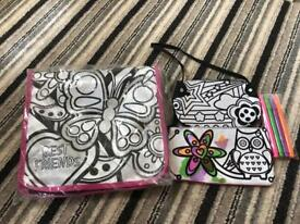 Nearly new colouring bag with pens
