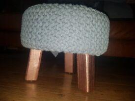 Steel blue & copper footstool