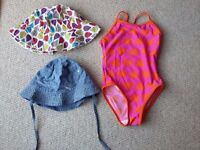 BABY GIRL SWIMSUIT AGE 2-3 AND 2 SUN HATS AGE 1-3
