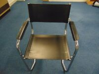 Black Leather Effect Chairs x8